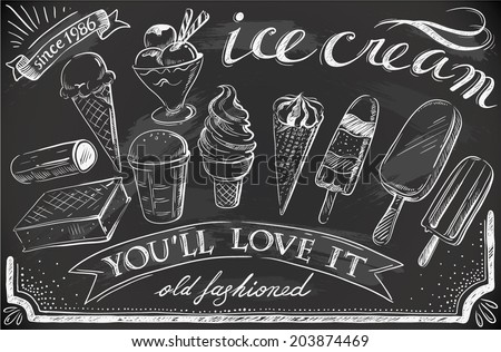 hand-drawn ice cream set on chalkboard - stock vector