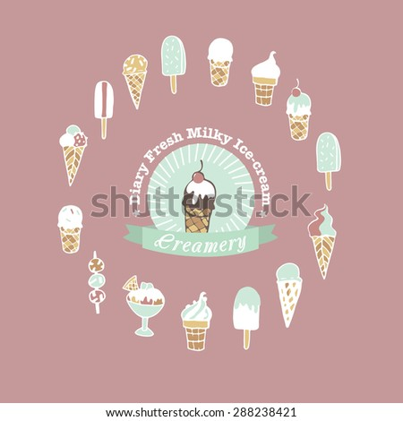Hand drawn ice cream shop logo and set of different kind of ice cream.  - stock vector
