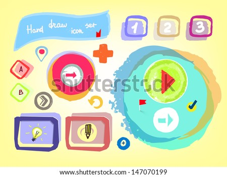 Hand drawn icon set, vector illustration