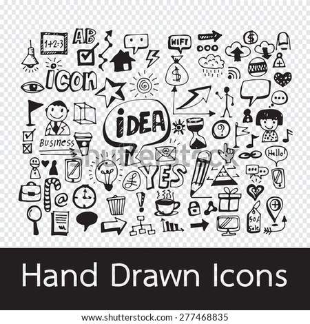 Hand Drawn Icons - stock vector