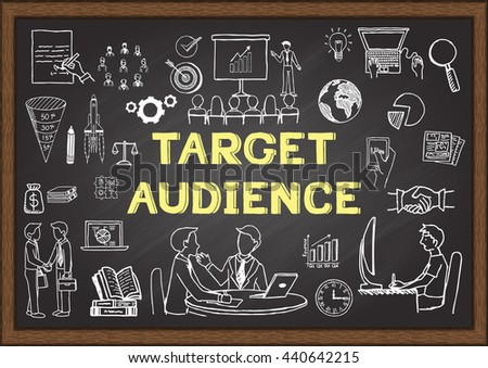 Hand drawn icons about Target audience on chalkboard - stock vector