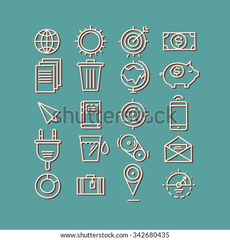 Hand drawn icons. concept business web media seo marketing engine optimization site  - stock vector