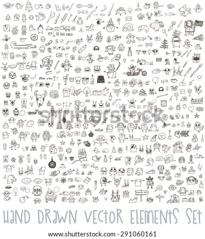 Hand Drawn Icons, Elements, Characters and Logos. Business, Floral, Christmas and other Elements. Big Set. - stock vector