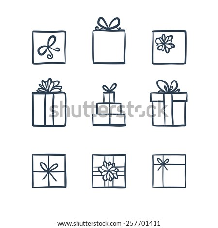 Hand drawn icons gifts with bows in cartoon style. Doodle gift box icon set with different bows. Gift wrap. Gift package. Doodle gift box icon isolated on white background. Thin line doodle icon set. - stock vector