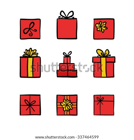 Hand drawn icons gifts with bows in cartoon style. Doodle gift box icon set with different bows. Gift wrap. Gift package. Gift icon isolated on white background. Thin line colored doodle icon set. - stock vector
