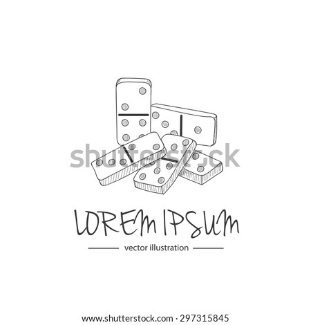 Hand drawn icons of domino blocks isolated on white background, vector illustration, logo design template. Modern linear branding element for domino clubs - stock vector