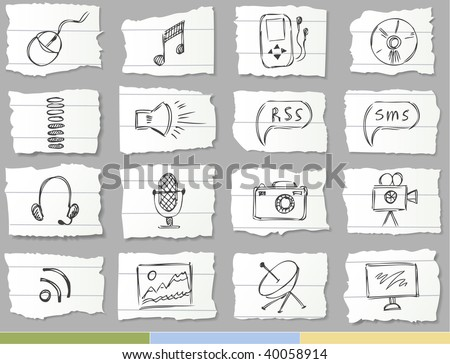 Hand drawn icons on ripped paper (Media set) - stock vector