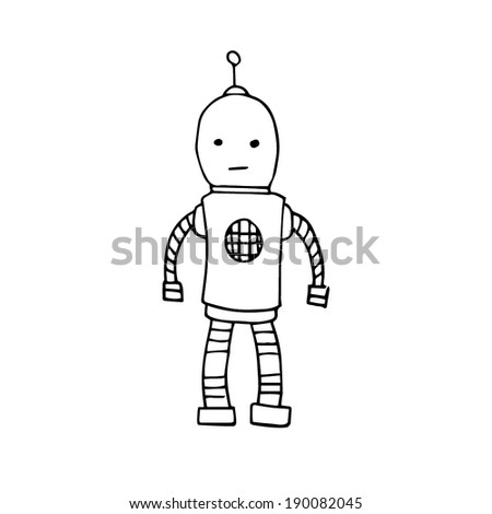 Hand drawn illustrated line art Illustration of a round-headed robot - sketch - stock vector