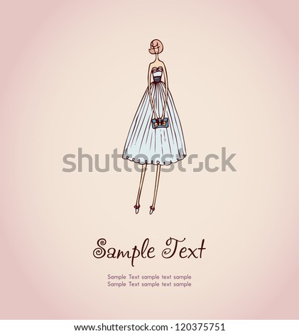 Hand drawn illustration and place for your text. Template with image of blonde girl in beautiful cocktail dress and handbag for design and decoration greeting cards, scrapbooking - stock vector