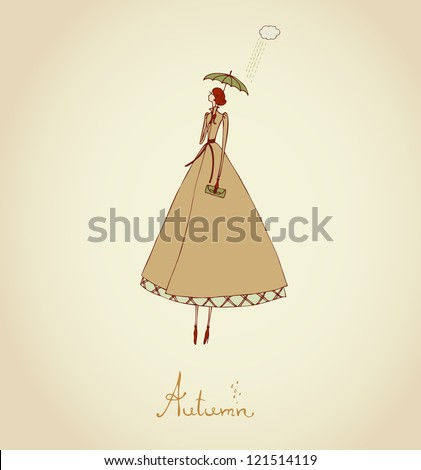Hand drawn illustration and place for your text. Template with image of girl. Illustration set Four Seasons. Autumn - stock vector