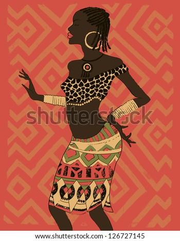 Hand drawn illustration  Beautiful black woman.African woman. Dancing woman - stock vector