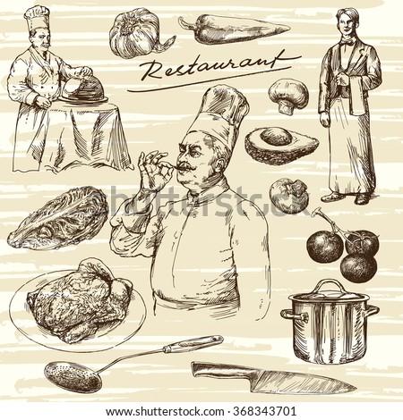 Hand drawn illustration.Food preparation. Chef portrait.  - stock vector