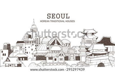 Hand drawn illustration in line art featuring the modern and old section of a city. Korean architecture of traditional houses and historical monuments representing Seoul.  - stock vector