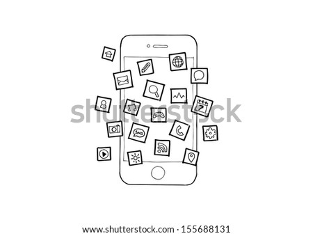 Hand Drawn Illustration Mobile Smart Phone Apps - stock vector