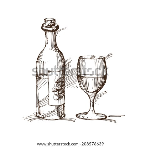 Hand drawn illustration of a bottle of wine with a glass. EPS 10. No transparency. No gradients. - stock vector