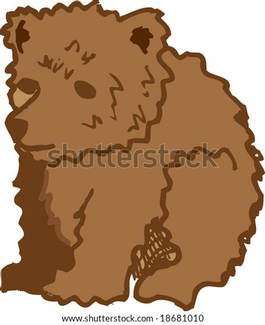 hand-drawn illustration of a brown bear