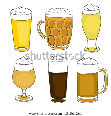 hand drawn illustration of a collection of six different beer pints,  set of doodles isolated on white - stock vector