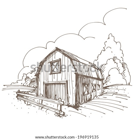 Hand drawn illustration of a farm. EPS 10. No transparency. No gradients. - stock vector