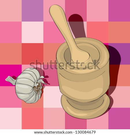hand drawn illustration of a garlic mortar over a tablecloth pattern with squares - stock vector