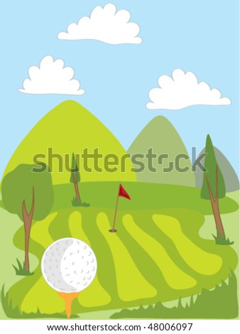 hand drawn illustration of a golf ball on a tee overlooking the green - stock vector