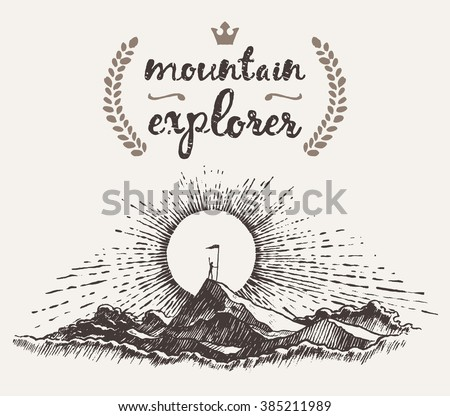 Hand drawn illustration of a man on top of a mountain at sunrise, winner concept, mountain explorer, sketch - stock vector