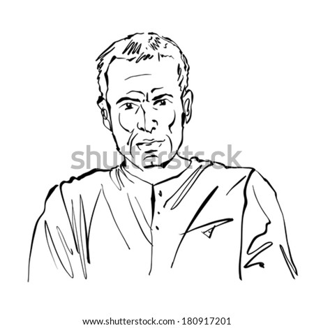 Hand drawn illustration of a man on white background, black and white drawing.  - stock vector