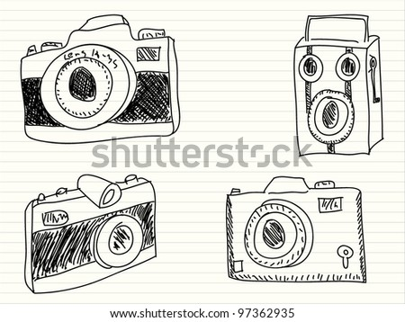 Hand drawn illustration of a photo cameras - stock vector