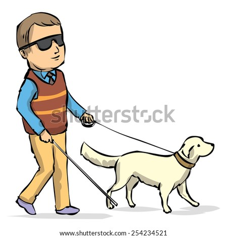 Hand drawn illustration of a Seeing Eye Dog Guiding a Blind Man. Isolated on white. - stock vector