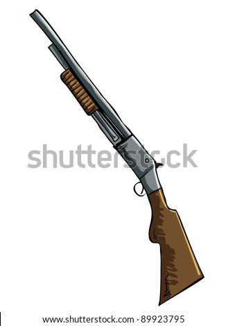 Hand drawn illustration of a shotgun. Isolated - stock vector