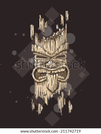 Hand drawn illustration of a tiki totem. EPS10 vector image. - stock vector