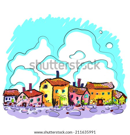 Hand drawn  illustration of an old city street background. Medieval town. European. Bright painted. Vector art. For print, as card or design element. - stock vector