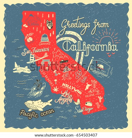 Hand Drawn Illustration California Map Tourist Stock Vector