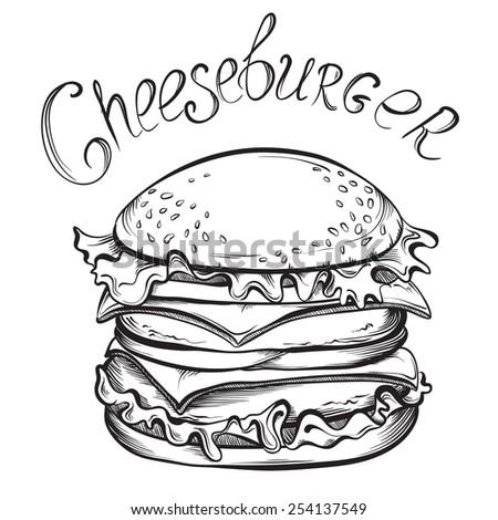 Hand drawn illustration of Cheeseburger. Sketch Vector illustration. - stock vector