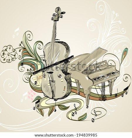 hand drawn illustration of classical musical instruments - stock vector
