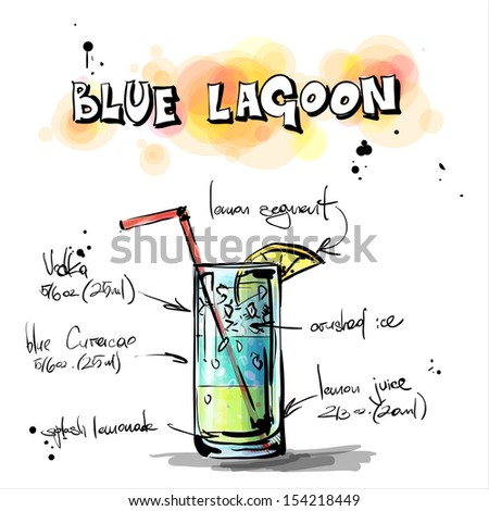 Hand drawn illustration of cocktail. BLUE LAGOON. Vector collection. - stock vector