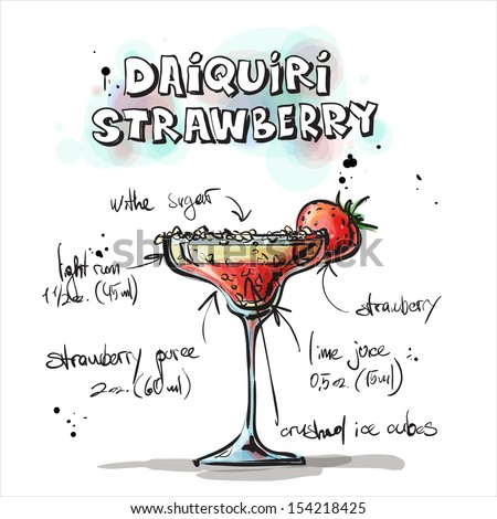 Hand drawn illustration of cocktail. DAIQUIRI STRAWBERRY. Vector collection. - stock vector