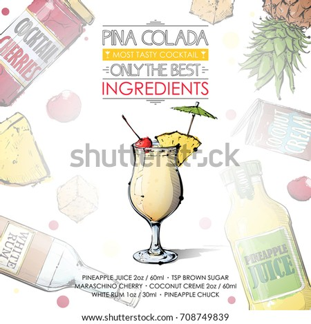 Vector illustration popular alcoholic cocktail pina stock for Cocktail recipes with ingredients on hand