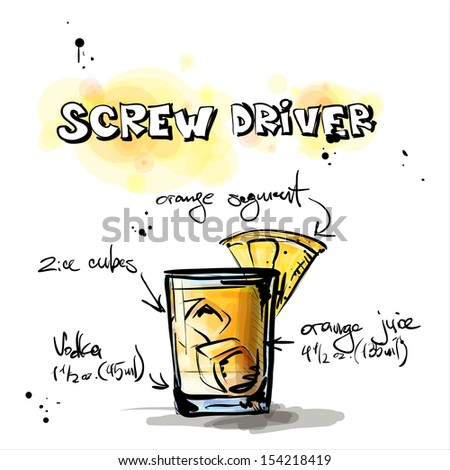 Hand drawn illustration of cocktail. SCREW DRIVER. Vector collection. - stock vector