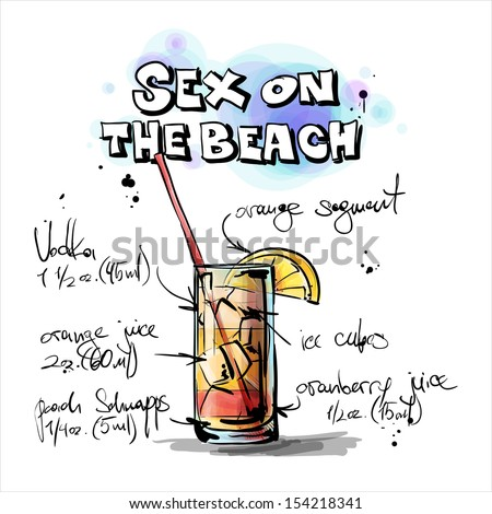 Hand drawn illustration of cocktail. SEX ON THE BEACH. Vector collection. - stock vector