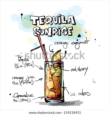 Hand drawn illustration of cocktail. TEQUILA SUNRISE. Vector collection. - stock vector