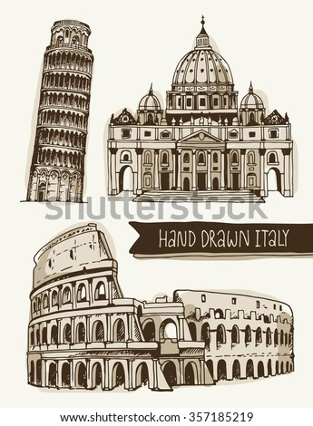 Hand drawn illustration of Coliseum, Tower of Pisa, St. Peter's Basilica. Italy landmarks on a beige background, vector. - stock vector
