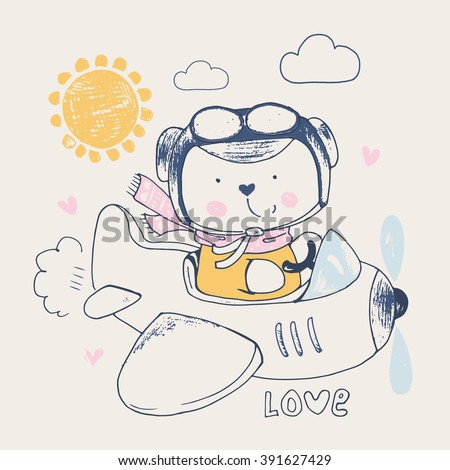 hand drawn illustration of cute baby bear on airplane/can be used for kid's or baby's shirt design/fashion print design/fashion graphic - stock vector