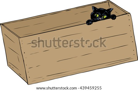 Hand drawn illustration of cute black kitten peeking from inside of wooden crate - stock vector