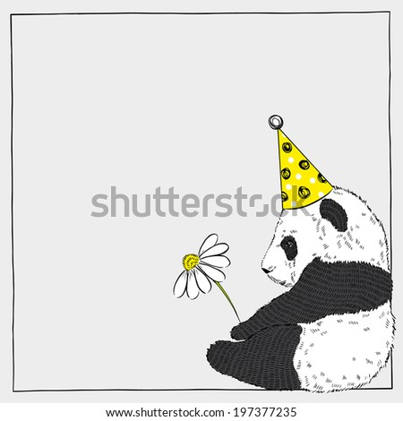 hand drawn illustration of cute panda baby with a flower in festal hat - stock vector