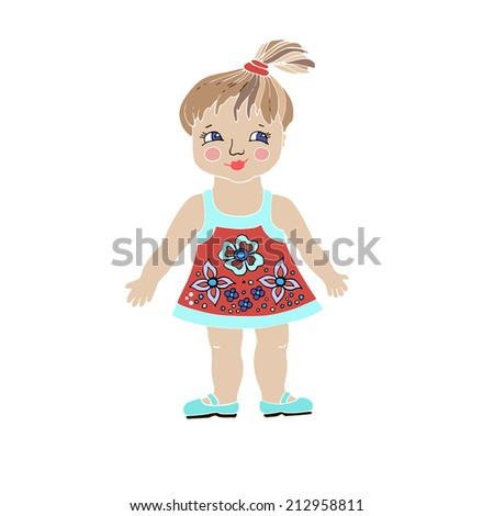 Hand drawn illustration of cute vector girl in dress.Funny girl kid image. - stock vector