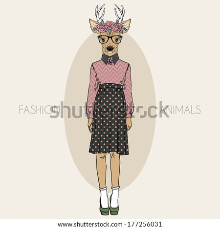 Hand drawn illustration of deer hipster girl in colors - stock vector