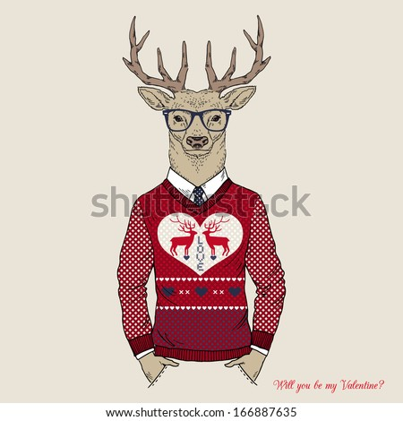 Hand Drawn Illustration of Deer Hipster in Jacquard Pullover for Valentine's Day, Love