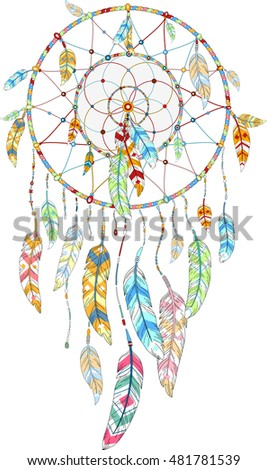 hand drawn illustration of dream catcher, native american poster in boho style