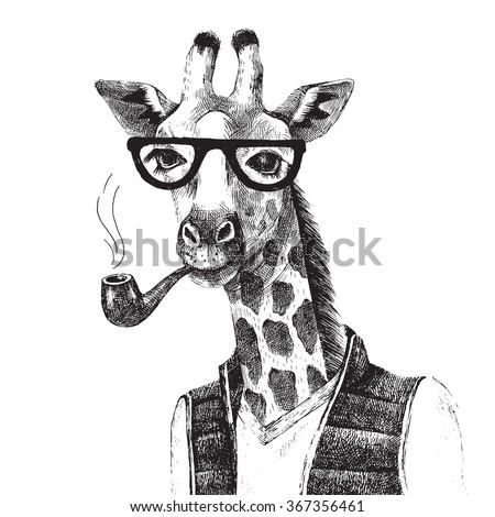 Hand drawn Illustration of dressed up giraffe hipster - stock vector