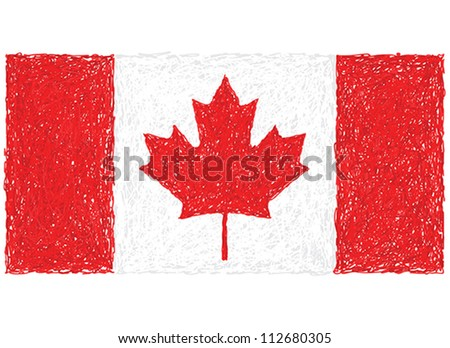hand drawn illustration of flag of Canada - stock vector